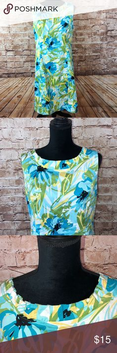 Kim Rogers Sheath Floral Dress NWOT Floral print Ruffled neckline Fully lined 98% cotton/2% spandex  Back slit never opened Broken zipper Kim Rogers Dresses Midi