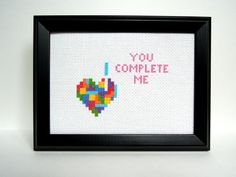 Tetris Heart  You Complete Me Cross Stitch by ActsofCraftiness, $5.00