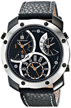 Steinhausen MW1306LSLSORL Men's Watch Triple Time Zone Black Dial – Time Machine Plus