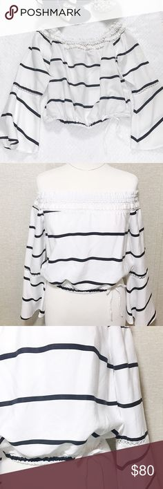 WALKER BAKER OFF THE SHOULDER Off the shoulder top. Bell sleeve with elastic on the waist and a small white bow. • high quality fabrics • 100% lyocell • new with tags • size Small Tops
