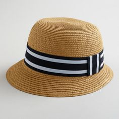 One of my favorite discoveries at WorldMarket.com: Brown Bucket Hat with Black Striped Band