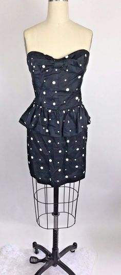 80s style POLKA DOT BLACK and WHITE PEPLUM SLEEVELESS Bow Party DRESS SIZE XL #MaterialGirl #Peplum #party