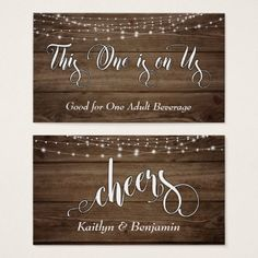 Rustic Brown Wood & White Lights Drink Tickets - rustic gifts ideas customize personalize