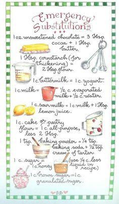 emergency substitutions from Susan Branch Have you ever asked what can I substitute for. this useful refernce chart for bakers will answer your substitution dilemmas . Must-read baking tips and tricks you need to try! Baking hacks for icing cakes, baking Kitchen Cheat Sheets, Kitchen Measurements, Kitchen Helper, Baking Tips, Baking Hacks, Beginner Baking Recipes, Baking Secrets, Bread Baking, Mets