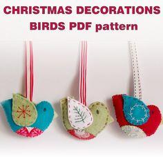 PDF pattern - Felt Christmas ornaments birds. $5.00, via Etsy.