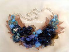 Collana di stilefiori di stoffa di moda di SilkRibbonembroidery