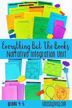 Everything But The Books Narrative Integration Unit for 4th and 5th grade provides you with complete writing, reading, and mentor sentence lesson plans - you'll get the standards-aligned integrated lesson plans, activities, checklists, rubrics, additional short story/poetry/folktale readings, outlines, and text-based writing and response to literature prompts; and all you need to get your hands on are the mentor texts! #mentortexts #4thgrade #5thgrade