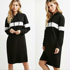 """Long Hooded """"Sweatshirt"""" Dress Long Black with White Stripe Hooded """"Sweatshirt"""" Dress.   This is NWOT Retail Price Firm Unless Bundled.  Measurements Available Upon Request. Dresses Long Sleeve"""