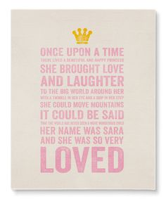 Love this 'Happy Princess' Personalized Wrapped Canvas by BirdRow on #zulily! #zulilyfinds