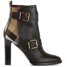BURBERRY PRORSUM buckled ankle boots ($490) ❤ liked on Polyvore featuring shoes, boots, ankle booties, burberry, black high heel boots, short boots, black high heel ankle booties, buckle ankle boots and black buckle boots