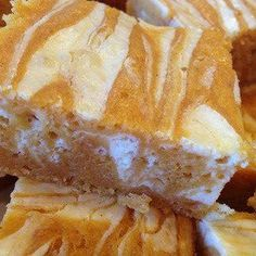 PUMPKIN CREAM CHEESE BARS 1 	box angel food cake mix- the 1 step kind 1 	15oz can Pumpkin ¾ 	Cup water ½ 	teaspoon cinnamon 1 	8oz pkg. reduced fat cream cheese 	few tablespoons of water, to be mixed with cream cheese