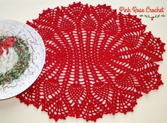 PINK ROSE CROCHET: Holiday Pineapples Oval Placemat
