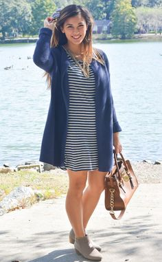 striped dress and longline cardigan. | A Glimpse of Glam.