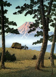 Japanese Ukiyo-e: Mt. Fuji seen from Tagonoura. Hasui Kawase. 1940