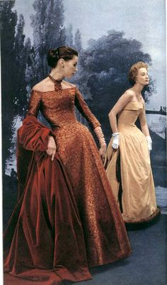 A beautiful rust colored brocade gown with velvet coat and a strapless winter gown trimmed in mink, by Christian Dior, 1954 Vintage Dior, Moda Vintage, Vintage Gowns, Vintage Couture, Vintage Vogue, Vintage Glamour, Vintage Beauty, Vintage Outfits, Vintage Hats