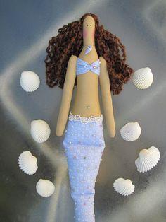 Mermaid doll handmade fabric doll blue lilac by HappyDollsByLesya
