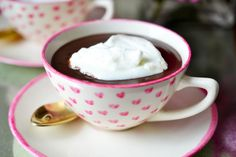 Rich Hot Chocolate - try it with Van Gogh Dutch Chocolate Vodka Coffee Cups And Saucers, Cup And Saucer, Diy Painted Vases, Chocolate Vodka, Pink Tea Cups, Heart Painting, Coffee Drinkers, Ceramic Painting, Heart Of Gold