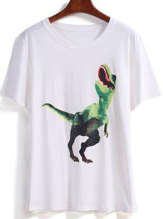 T-Shirt imprimé dinosaure -blanc