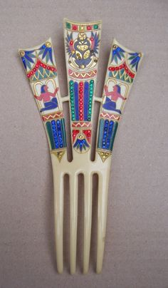 Art Deco Hair Comb Elaborate Egyptian Revival with Multi Colored Rhinestones Hair Accessory.