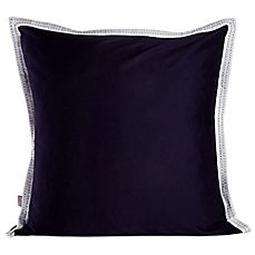 image of Belle Epoque Pinpoint Solid Navy Square Throw Pillow