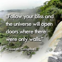 """Follow your bliss and the universe will open doors where there  were only walls.""  ~Joseph Campbell"