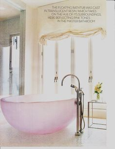 Pink...cutest tub ever! #bathroom tiles, shower, vanity, mirror, faucets…