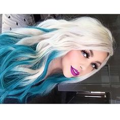 Turquoise hair ombre, white ombre hair, aqua hair, pastel hair, white b Turquoise Hair Ombre, White Ombre Hair, Ombre Hair Color, Cool Hair Color, Blue Ombre, Hair Colors, White Blonde, Gorgeous Hair, Beautiful
