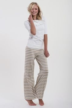 Tan Stripe Palazzo Pant - Persnickety Clothing
