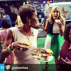 Spotted: Robin Roberts and Lara Spencer heading off with a whole lotta BBQ!