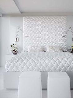 Modern White Bedroom Furniture All White Bedroom Not Boring Design Idea Luxury White Bedroom Furniture, White Bedroom Design, All White Bedroom, Luxury Bedroom Design, Bedroom Furniture Sets, White Rooms, Bedroom Ideas, Bedroom Decor, Grey Furniture