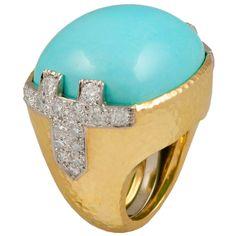 DAVID WEBB Turquoise Diamond Dome Ring | 1stdibs.com