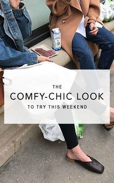 Behold the stylish comfy outfit that will take you from the couch to your next coffee run or brunch this weekend. #casualstyle #streetstyle #lazyday #comfyoutfit #casualoutfit #denimjacket #flatmules #leggings #fashion2018 #fashiontrends2018 #springstyle Spring outfit, casual outfit, comfy outfit, weekend outfit, fashion 2018, women's fashion, street style, denim jacket outfit, leggings outfit, flat mules outfit.