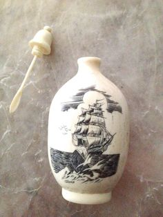 Antique Ivory Snuff Bottle Scrimshaw Pirate Ship by RareBeauty, $195.00
