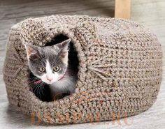 вязаный домик для кошки крючком