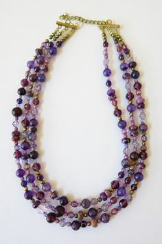 Finished multi-strand graduated bed necklace.