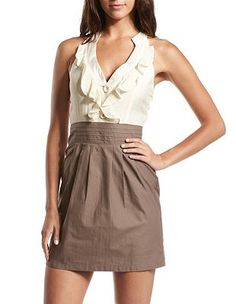 I would wear this Ruffle-Neck 2-Tone Dress at Charlotte Russe
