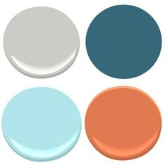 "Benjamin Moore: Stonington Gray, Poolside (not to be confused with ""Poolside Blue""), Oriole, Blue Seafoam Boy Room Color Scheme, Boys Room Colors, Boy Nursery Colors, Room Color Schemes, Color Schemes With Gray, Bedroom Colours, Nursery Room, Baby Boy Rooms, Baby Boy Nurseries"