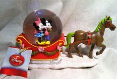 Disney Mickey & Minnie Christmas Sleigh Snowglobe