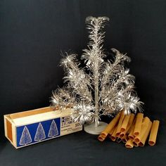 Aluminum Pom Pom Christmas Tree 2 ft Tall 17 Branches Metal Trees Corp Vtg 1960s #MetalTreesCorporation #PomPom