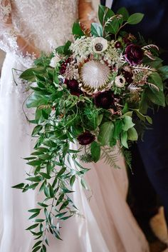 Purple Wedding Flowers protea wedding bouquet with burgundy and white florals - Think moss and mushrooms and the perfect modern venue! Church Wedding Flowers, Country Wedding Flowers, Romantic Wedding Flowers, Neutral Wedding Flowers, Cheap Wedding Flowers, Spring Wedding Flowers, Wedding Flower Decorations, Wedding Flower Arrangements, Flower Bouquet Wedding