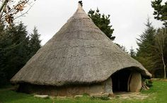 Large Celtic Roundhouse. This is an early Iron Age reconstruction based on excavations of a crannog (meaning young tree). A crannog is a lake-dwelling on which people built houses, kept animals, and lived in relative security from invaders. (****See similar Pins in the Board.)