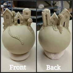 Hand built clay village sphere