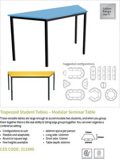 Trapezoid Student Tables - Modular Seminar Table - Tables - Modern Learning Environments Products as per 2016 Catalogue Classroom Furniture, Library Furniture, School Furniture, Modular Furniture, Furniture Design, Library Table, Modern Classroom, Classroom Layout, Classroom Design