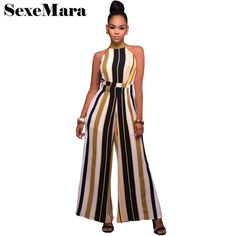 Hot New Sexy Stripe Wide Leg Women Jumpsuits 2017 Spring Summer Office Lady High Waist Halter Elegant Long Rompers D48-AB44 #Affiliate