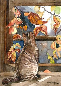 ACEO Limited Edition-Art print,Window with a view,Cat in fall,Gift for cat lover #Realism