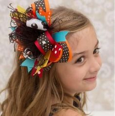 Colorful Dot Autumn Fall Thanksgiving Holiday Over the Top Hair Bow Clip or Baby Girl Headband