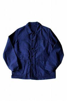 1960年代頃のブルーモールスキンワークジャケット(状態良) [JACKET-225]
