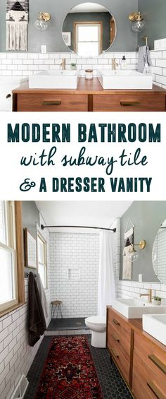 Modern Bathroom with Subway Tile, Bathroom with Dresser as Vanity, Modern Black and White Tile Bathroom, Modern Bathroom with Vintage Rug, Renovated Bathroom, Mid-century dresser as vanity, Brass in the Bathroom, Bathroom with Shower Window, Brass and Wood Bathroom, Modern Master Bathroom, Modern Bathroom