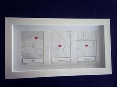 Love this idea for 1st wedding anniversary present! met, engaged, married map!