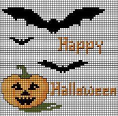 óÓò Halloween Dreams óÓò This would make an adorable crochet tapestry Trick or Treat Bag. Cactus Cross Stitch, Fall Cross Stitch, Halloween Embroidery, Halloween Cross Stitches, Cross Stitching, Cross Stitch Embroidery, Cross Stitch Patterns, Halloween Beads, Halloween Crochet